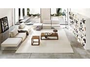 Upholstered steel pouf GRID | Pouf - Varaschin