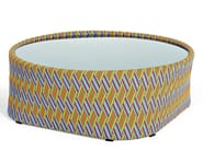 Coffee table swith ynthetic fiber weaving and glass top KENTE | Coffee table - Varaschin