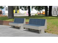 Stainless steel and PET Bench with back COMFONY 800 | Bench with back - BENKERT BÄNKE