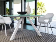 Round glass and aluminium table with Lazy Susan CIRCLE | Round table - Talenti