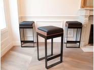 Sled base upholstered steel stool SÉVERIN | Sled base stool - Alex de Rouvray design