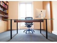 Rectangular glass and steel writing desk SÉVERIN   Glass and steel writing desk - Alex de Rouvray design