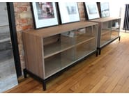 Modular wood and glass sideboard with sliding doors VANEAU | Wood and glass sideboard - Alex de Rouvray design