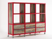 Wooden bookcase with drawers with casters AK- 14 | Bookcase with drawers - KARPENTER