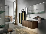 Wall-mounted walnut vanity unit with cabinets CHRONO 306 - Edoné by Agorà Group