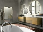 Wall-mounted sandblasted glass vanity unit with mirror ENEA 314 - Edoné by Agorà Group