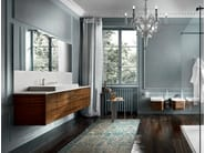 Wall-mounted rosewood vanity unit with mirror EOS 334 - Edoné by Agorà Group
