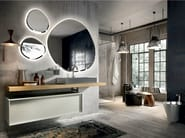 Lacquered wall-mounted vanity unit with mirror REGOLO 324 - Edoné by Agorà Group