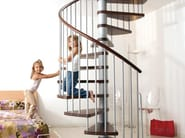 Steel and wood Spiral staircase in kit form KLAN - Fontanot Spa