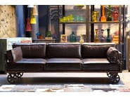 3 seater leather sofa with casters RAILWAY | Sofa - KARE-DESIGN