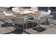 Round aluminium and wood garden table BAIA | Round table - MAMAGREEN