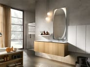 Wall-mounted oak vanity unit with cabinets MAIA 303 - Edoné by Agorà Group