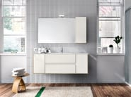 Wall-mounted oak vanity unit with mirror CLOE 26 - Edoné by Agorà Group