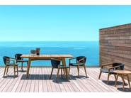 Teak garden chair with armrests KNIT | Chair with armrests - Ethimo