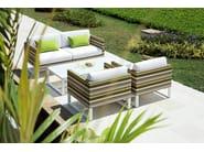 Sled base Sunbrella® garden armchair with armrests STRIPE | Sled base armchair - MAMAGREEN