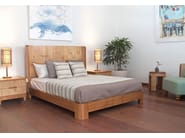 Wooden bed with high headboard TEABU | Bed - WARISAN