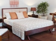 Wooden queen size bed with upholstered headboard JALAN | Bed - WARISAN