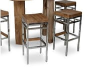 Wooden barstool with footrest ARAK - WARISAN