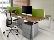 Sectional steel and wood workstation desk with drawers COWORK | Office desk - IFT