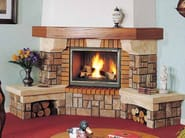 Wood-burning corner fireplace with panoramic glass LES ARCS - CHEMINEES SEGUIN DUTERIEZ