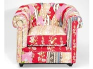 Upholstered fabric armchair with armrests PATCHWORK SURPRISE - KARE-DESIGN