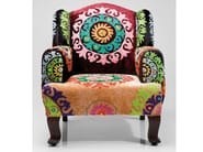 Upholstered fabric armchair with armrests MANDALA - KARE-DESIGN