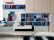 Wall-mounted lacquered floating bookcase LINK SYSTEM | Lacquered bookcase - Zalf