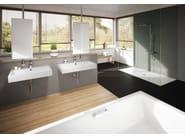 Rectangular wall-mounted enamelled steel washbasin PURO | Wall-mounted washbasin - Kaldewei Italia