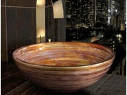 Countertop round washbasin GRAFFITI Ø 34 - Glass Design