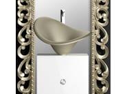 Single wooden vanity unit with mirror MONNALISA PRESTIGE FLOWER PLATINUM - Glass Design