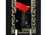 Single wooden vanity unit with mirror MONNALISA PRESTIGE FLOWER RED FERRARI - Glass Design