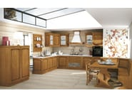Linear solid wood fitted kitchen with handles MALIN - CREO Kitchens by Lube