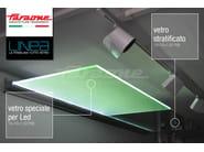 Glass and aluminium door canopy with built-in lights LINEA | Glass door canopy - FARAONE