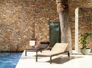 Recliner teak garden daybed with Casters NATAL ALU TEAK | Garden daybed - TRIBÙ
