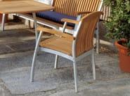 Stackable teak garden chair with armrests CENTRO | Garden chair - FISCHER MÖBEL