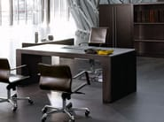 Rectangular tanned leather office desk with drawers FUSION | Rectangular office desk - ENRICO PELLIZZONI