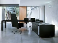 Low tanned leather office storage unit with casters NAZCA | Low office storage unit - ENRICO PELLIZZONI