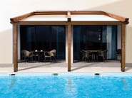 Wall-mounted pergola with sliding cover L2 | Laminated wood pergola - KE Outdoor Design