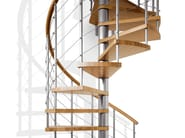 Modular stainless steel and wood Spiral staircase GENIUS 010 + 2:Easy - Fontanot Spa