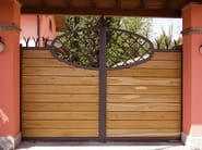 Motorized Sliding wooden gate Iron gate covered with wood - QUARTIERI LUIGI