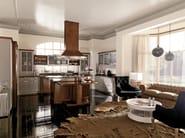 Lacquered walnut fitted kitchen with island CONVIVIO | Walnut kitchen - Martini Mobili