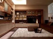 Lacquered linear walnut fitted kitchen with island CONVIVIO | Walnut kitchen - Martini Mobili
