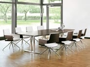 Rectangular wooden meeting table with casters A1700 | Meeting table - THONET