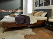 Walnut double bed with upholstered headboard METIS PLUS | Walnut bed - Hülsta-Werke Hüls