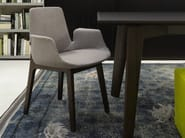 Fabric chair with armrests