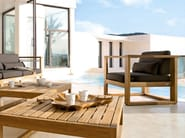 Teak garden pouf / garden side table SIENA | Garden footstool - MANUTTI