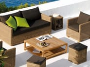 Design Low Square teak garden side table SORENTO | Low garden side table - MANUTTI