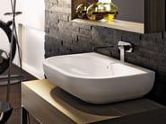 Countertop wall-mounted ceramic washbasin with overflow PASS 72 | Wall-mounted washbasin - CERAMICA FLAMINIA