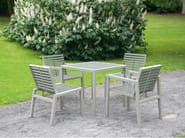 Stainless steel and PVC garden chair with armrests