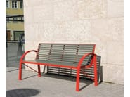 Stainless steel and PET Bench with armrests COMFONY 120 - BENKERT BÄNKE